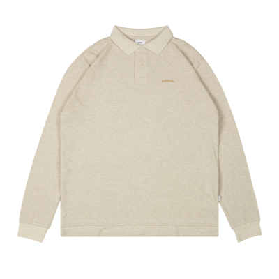 LOGO L/S Polo Shirt (oatmeal/gold)