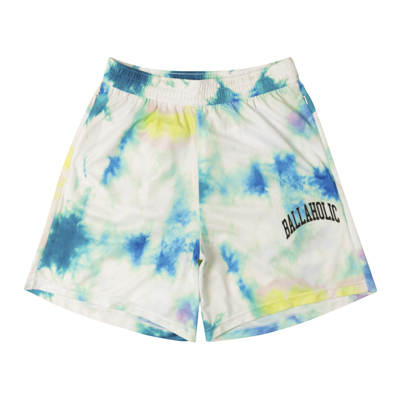 Tie-Dye Pattern Zip Shorts (white)