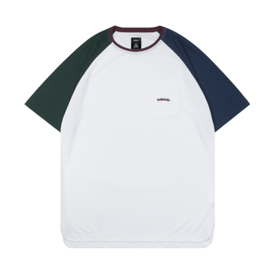 Color Blocked Pocket COOL Tee (white)