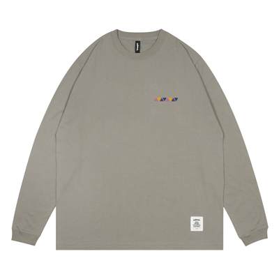 Triangle Pattern Long Tee / SS6 (stone gray)