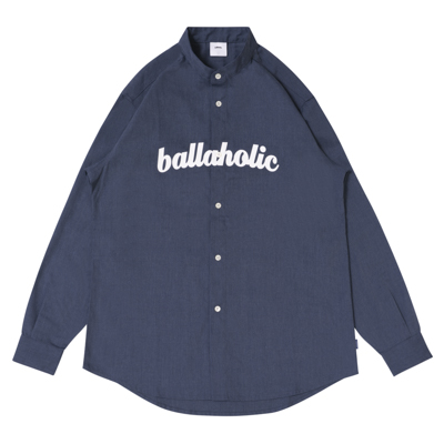 LOGO Band Collar Shirts (heather blue)