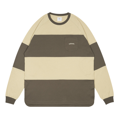 Big Border Long Tee (shark/smoke beige)